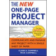 New One-Page Project Manager: Communicate and Manage Any Project With A Single Sheet of Paper